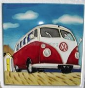 Hand Crafted Ceramic Art Tile Red Camper Van